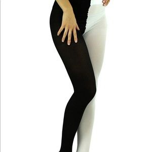 Women's Two Toned Plus Size Black & White Tights